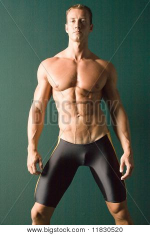 Champion body builder posing poster