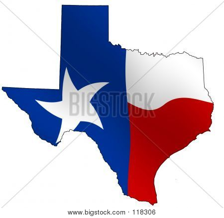 MAp of Texas, filled with its waving flag poster