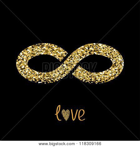 Limitless Red Sign With Heart Symbol. Infinity Icon. Love Card. Flat Design. Gold Sparkles Glitter T