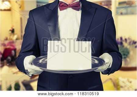 Waiter Service Dinner First Class Party Elegance White poster