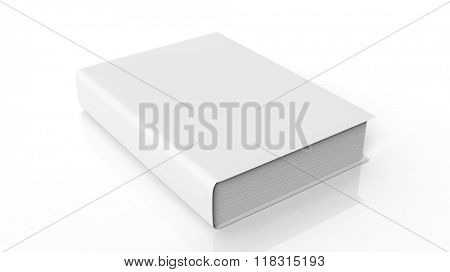 Book with blank hardcover, isolated on white background.