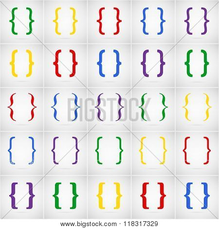 Abstract Creative concept vector icon set of curly bracket for Web and Mobile Applications isolated