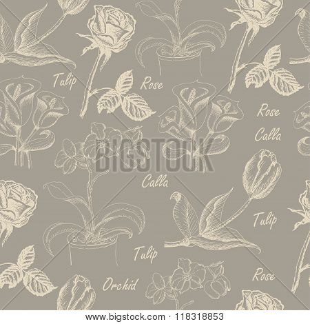 Seamless pattern with calla lily, tulip, orchid, and rose