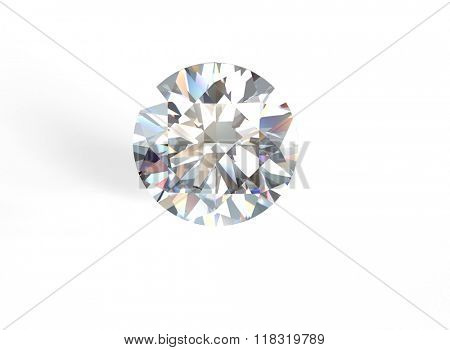 Classic round shape Gemstone on white. Jewelry background. Diamond.