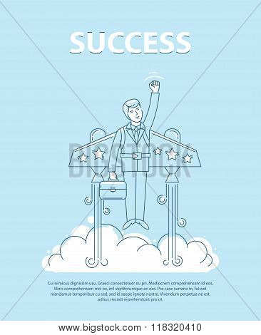 Businessman flying on the jetpack to success. Line style vector  illustration. Business concept of s