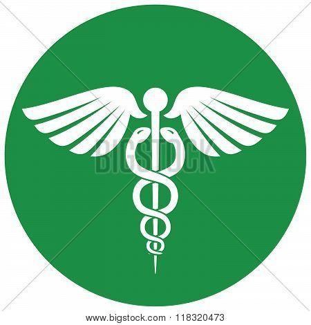 Round Green Caduceus Symbol