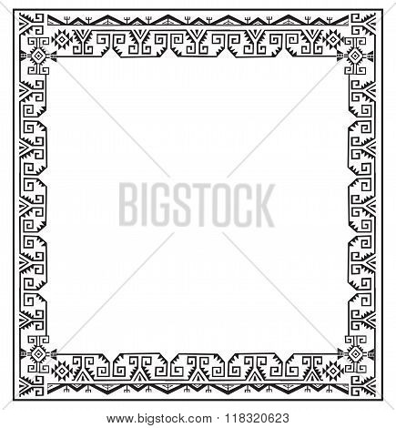 Black And White Ethnic Frames Vector. Tribal Vector Frame. Navajo Stile Frame. Slhouette Ethnic Ornament. Frames Space For Text. For Invitations Announcements Frame. Ethnic Photo Frames.