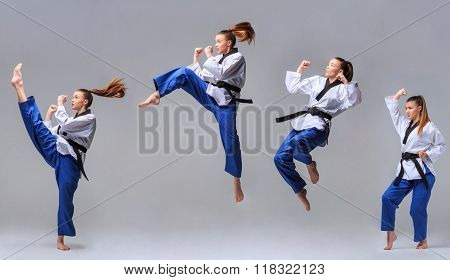 The collage of karate girl with black belt
