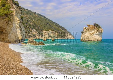 The most beautiful coasts of Italy:Baia dei Mergoli beach (Apulia).