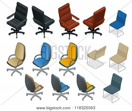 Office chair isolated on white background. Chair and armchair isometric vector set. Modern chairs. F