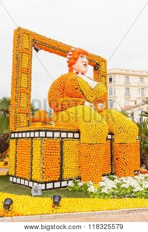 Art Made Of Lemons And Oranges In The Famous Carnival Of Menton, France. Fete Du Citron.