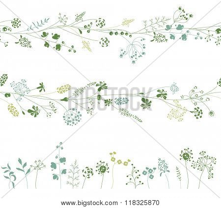 Floral endless pattern brushes made of  different plants.  Herbs for romantic design, decoration,  greeting cards, posters, wedding invitations, advertisement. Objects on white.