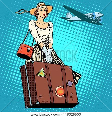 girl travel suitcase airport