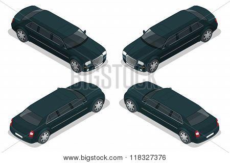 Black limousine. VIP car. Vector flat 3d  isometric illustration. Limousine icon, sign. Modern simpl