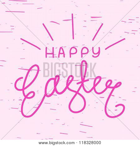 Happy Easter, Line Lettering On Pink Background