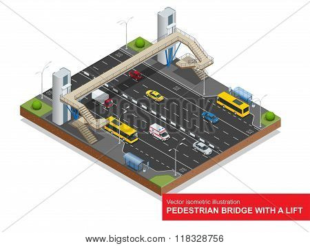 Isometric pedestrian bridge with a lift over the highway. Set of the isometric pedestrian bridge wit