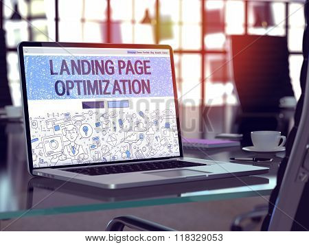 Landing Page Optimization Concept on Laptop Screen.