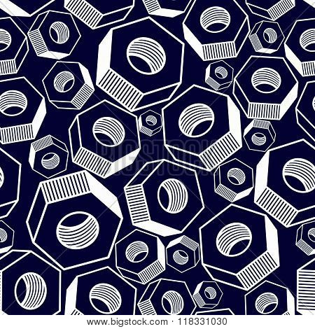 Seamless Pattern With 3D Industrial Nuts For Use With Bolts, Manufacturing Parts. Detailed
