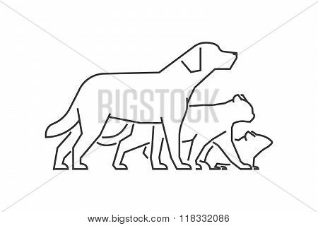 Black Line Logo Pets Clinic. Vectior Line Pets On A White Background.