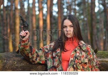 Civilian girl is practicing with her gun