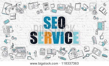 SEO Service in Multicolor. Doodle Design.