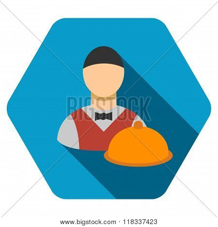 Waiter long shadow vector icon. Style is a flat symbol on a colored rounded hexagon button with longshadow. poster