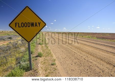 Floodway sign in the Australian outback
