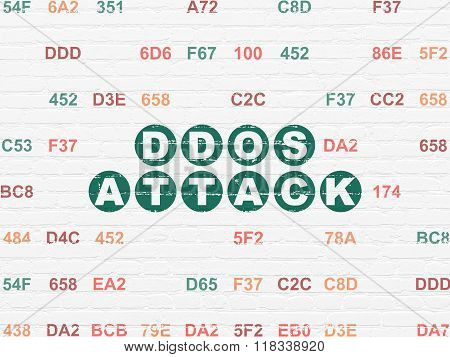 Security concept: DDOS Attack on wall background