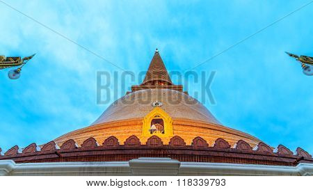 Phra Pathom Chedi The Tallest And Biggest Stupa, Pagoda In The World. It Is Located In The Town Of N