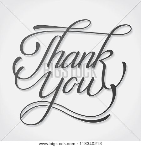 Thank You vector hand written pen classic signature lettering on white background. Thanksgiving greeting card