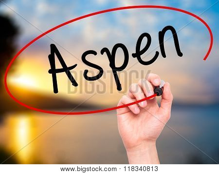 Man Hand Writing Aspen With Black Marker On Visual Screen