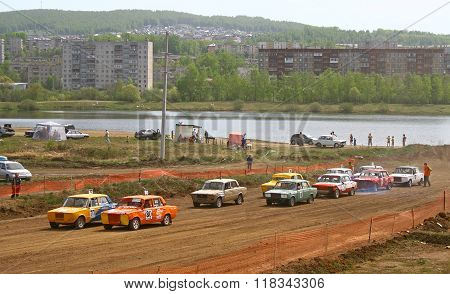 ZLATOUST, RUSSIA - MAY 15: Start of the qualifying of the annual autocross racing Championship of Chelyabinsk region on May 15, 2010 in Zlatoust, Chelyabinsk region, Russia.