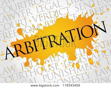 Arbitration word cloud collage concept, presentation background