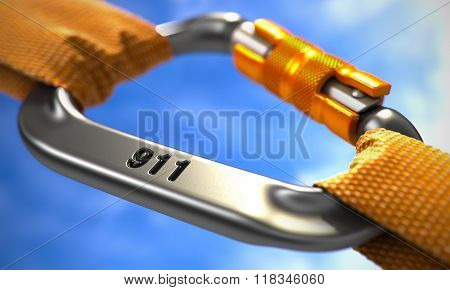Chrome Carabiner with Text 911.