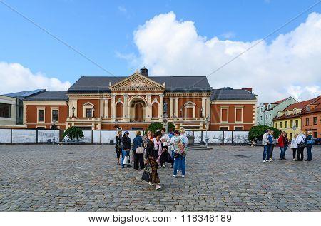 Tourists At Drama Theatre At Theatre Square, Klaipeda, Lithuania