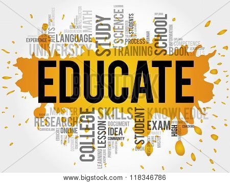 EDUCATE. Word education collage concept, presentation background