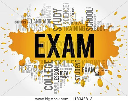 EXAM. Word education collage concept, presentation background