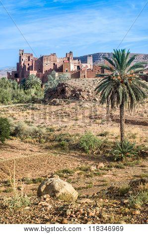 Ksar - old fortified castle in desert