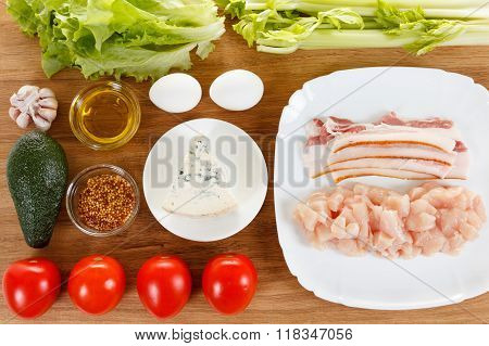 Ingredients For Cooking Traditional American Cobb Salad