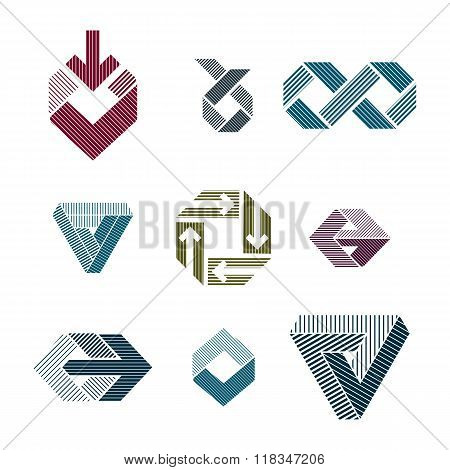 Abstract Unusual Lined Vector Symbols Set, Creative Stylish Icon Templates Collection.
