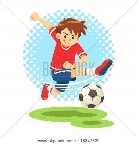 Soccer Boy Shooting The Ball To Make A Goal