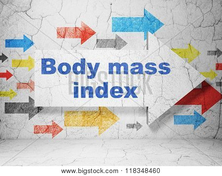 Health concept: arrow with Body Mass Index on grunge wall background