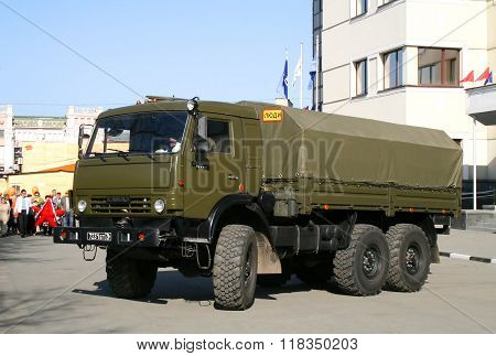 CHELYABINSK, RUSSIA - MAY 9: Army truck KamAZ-5350 Mustang exhibited at the annual Victory Parade on May 9, 2009 in Chelyabinsk, Russia.
