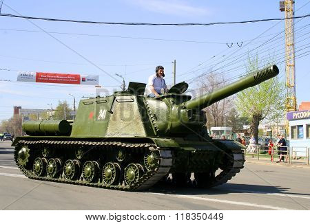 CHELYABINSK, RUSSIA - MAY 9: Soviet multirole fully enclosed and armored self-propelled gun ISU-152 exhibited at the annual Victory Parade on May 9, 2009 in Chelyabinsk, Russia.
