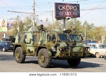 CHELYABINSK, RUSSIA - MAY 9: High-mobility multipurpose military vehicle GAZ-3937