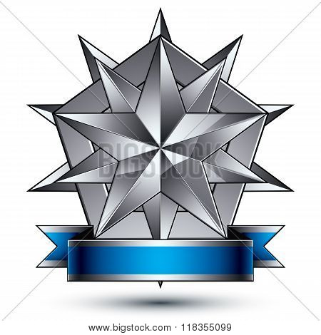 Heraldic 3D Glossy Blue And Gray Icon - Can Be Used In Web And Graphic Design, Complicated Silver St