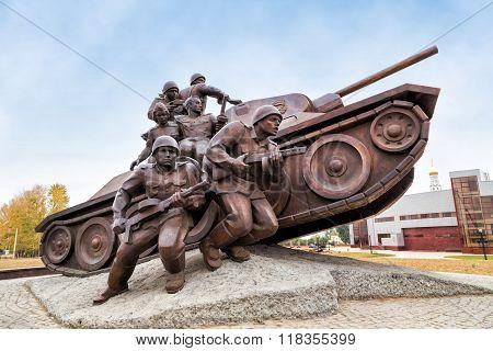 Sculpture Panzer troops. Prokhorovka. Russia