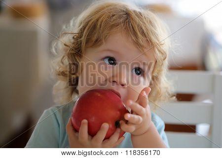 Portrait Of Kid Eating Apple