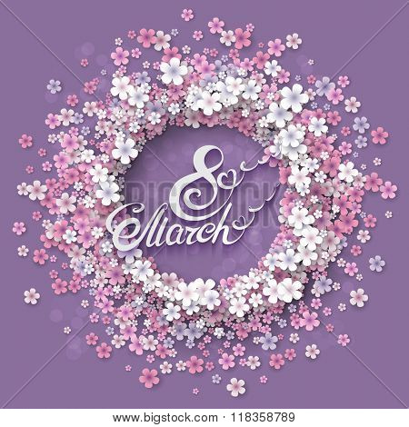 Women day background with frame flowers