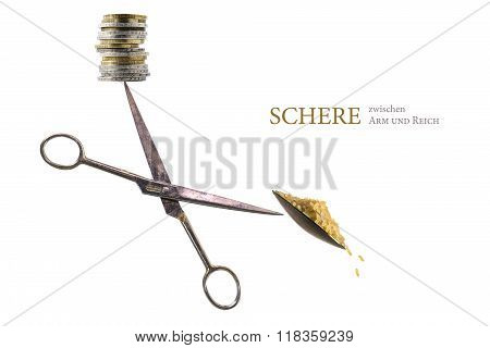 Balancing Scissors With Coins And Food On The Tips, German Text Schere Zwischen Arm Und Reich,  Isol